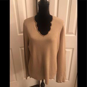 NWOT XL Dana Buchanan knit beaded top